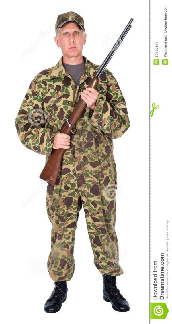 Serious Hunter Isolated stock image. Image of friend ...