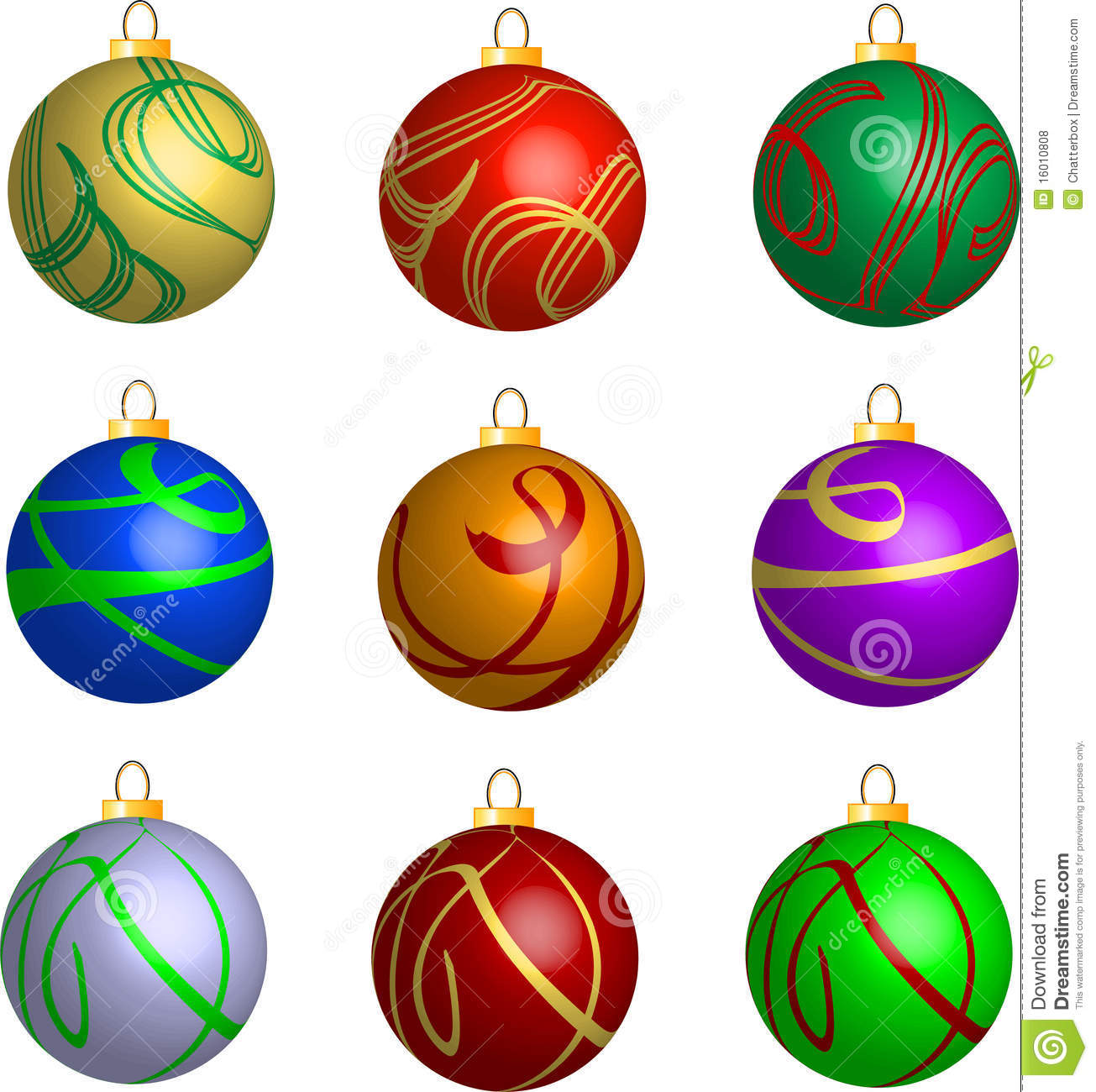 Set Of 3d Swirl Christmas Balls Decorations Stock Vector