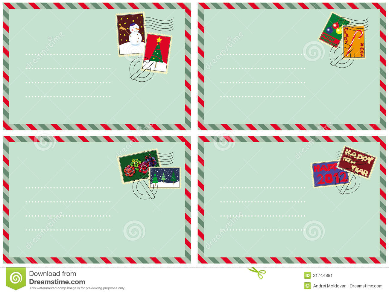 Set Of 4 Envelopes With Christmas Stamps Stock Image