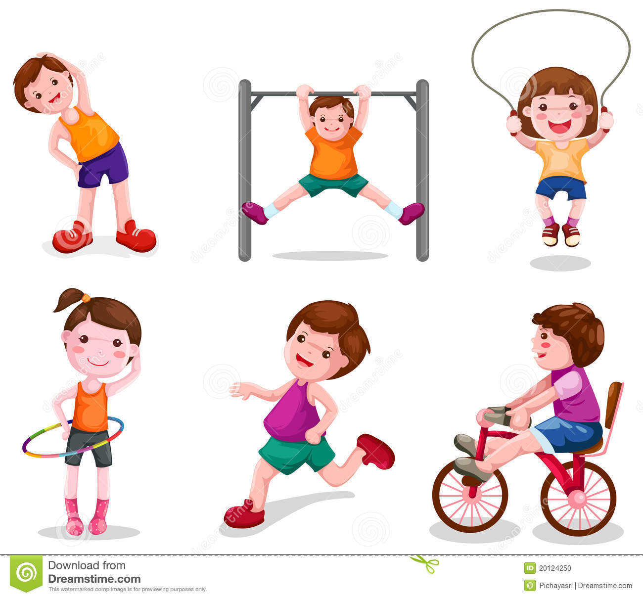 Set Of Activity Kids Playing Stock Vector