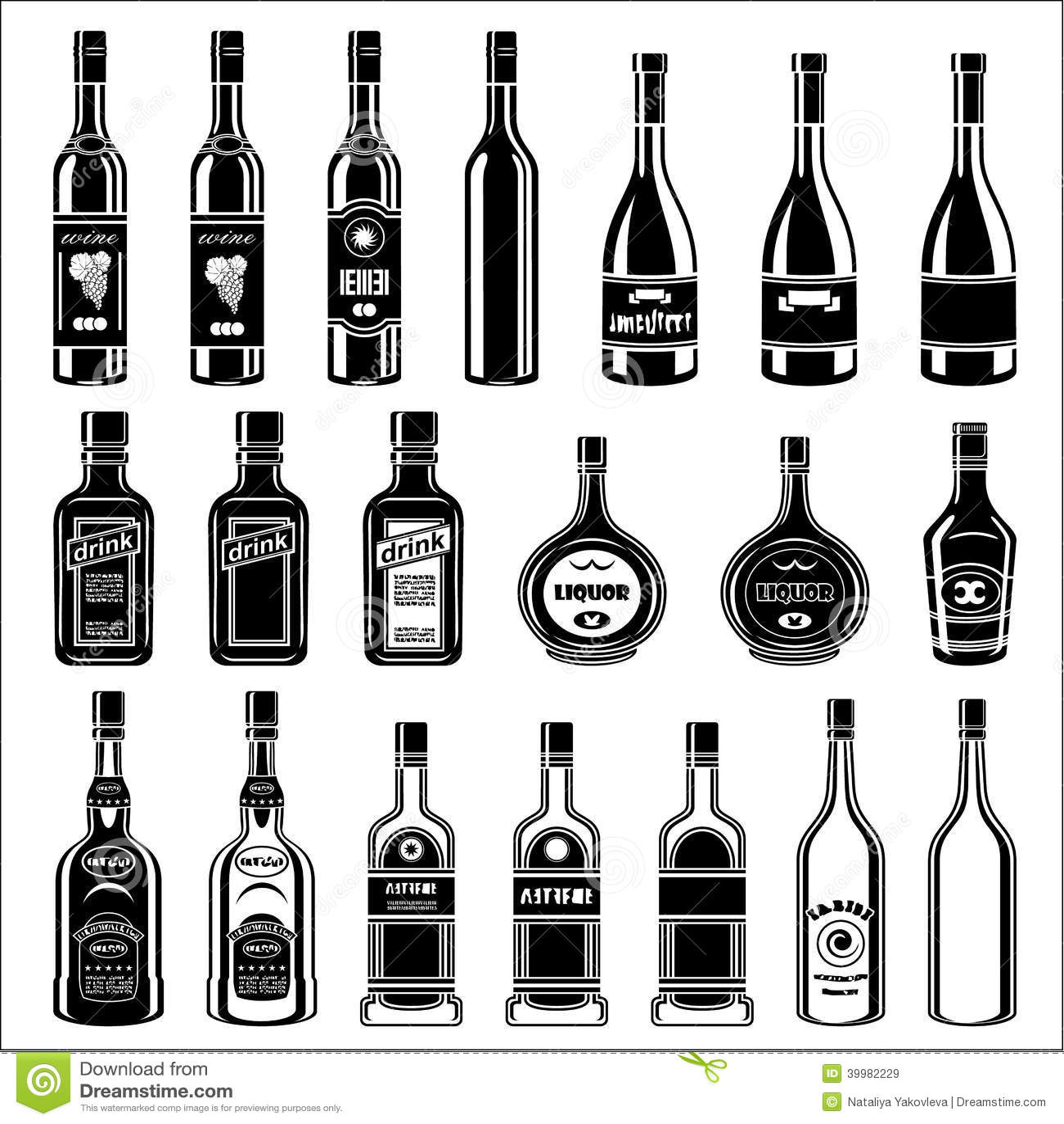 Set Of Alcohol Bottles Stock Vector
