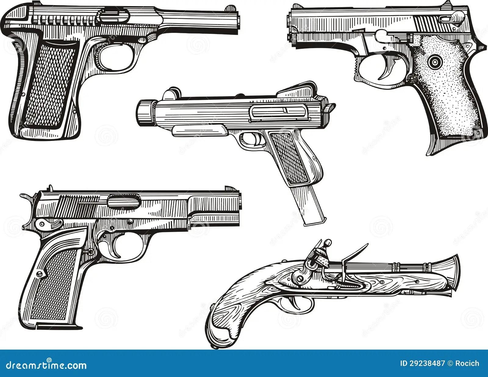 Set Alte Pistolen Vektor Abbildung Illustration Von