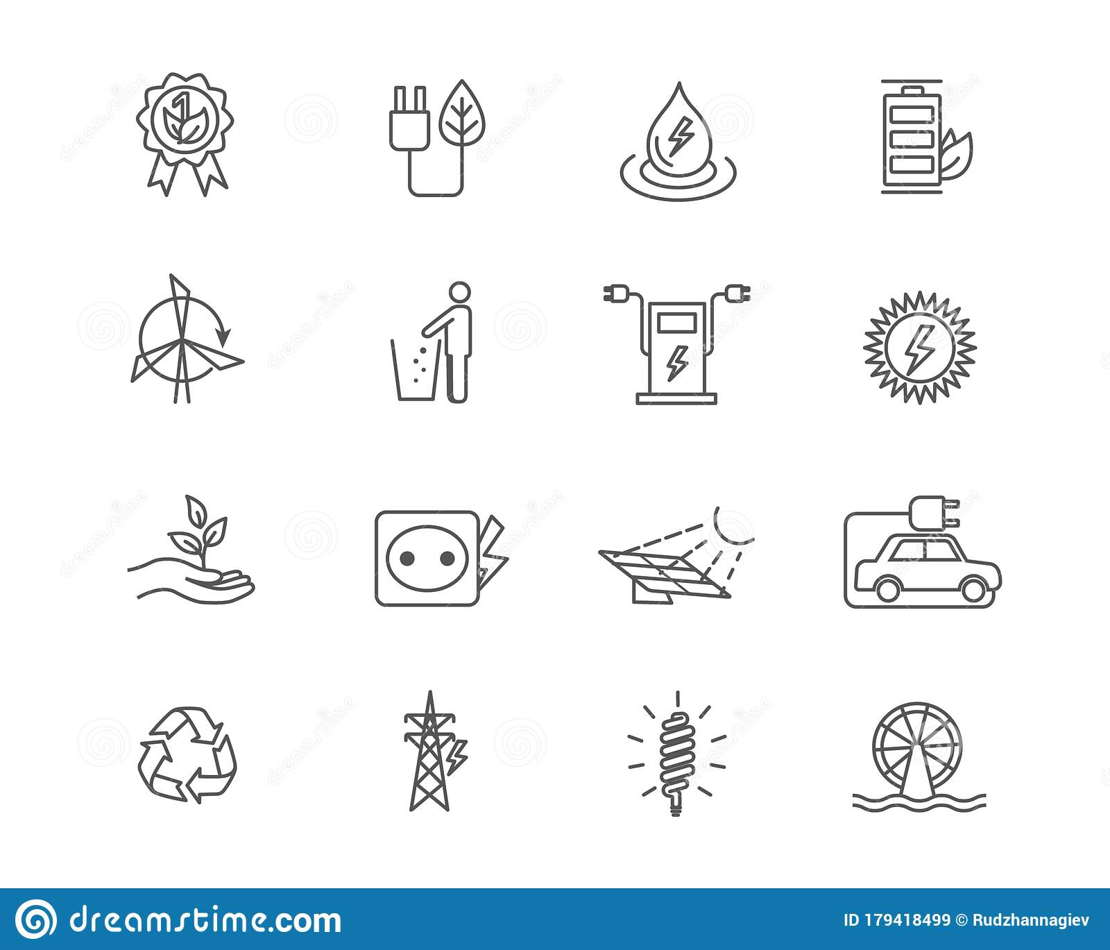 Alternative Energy Sources Icon Set Vector Illustration