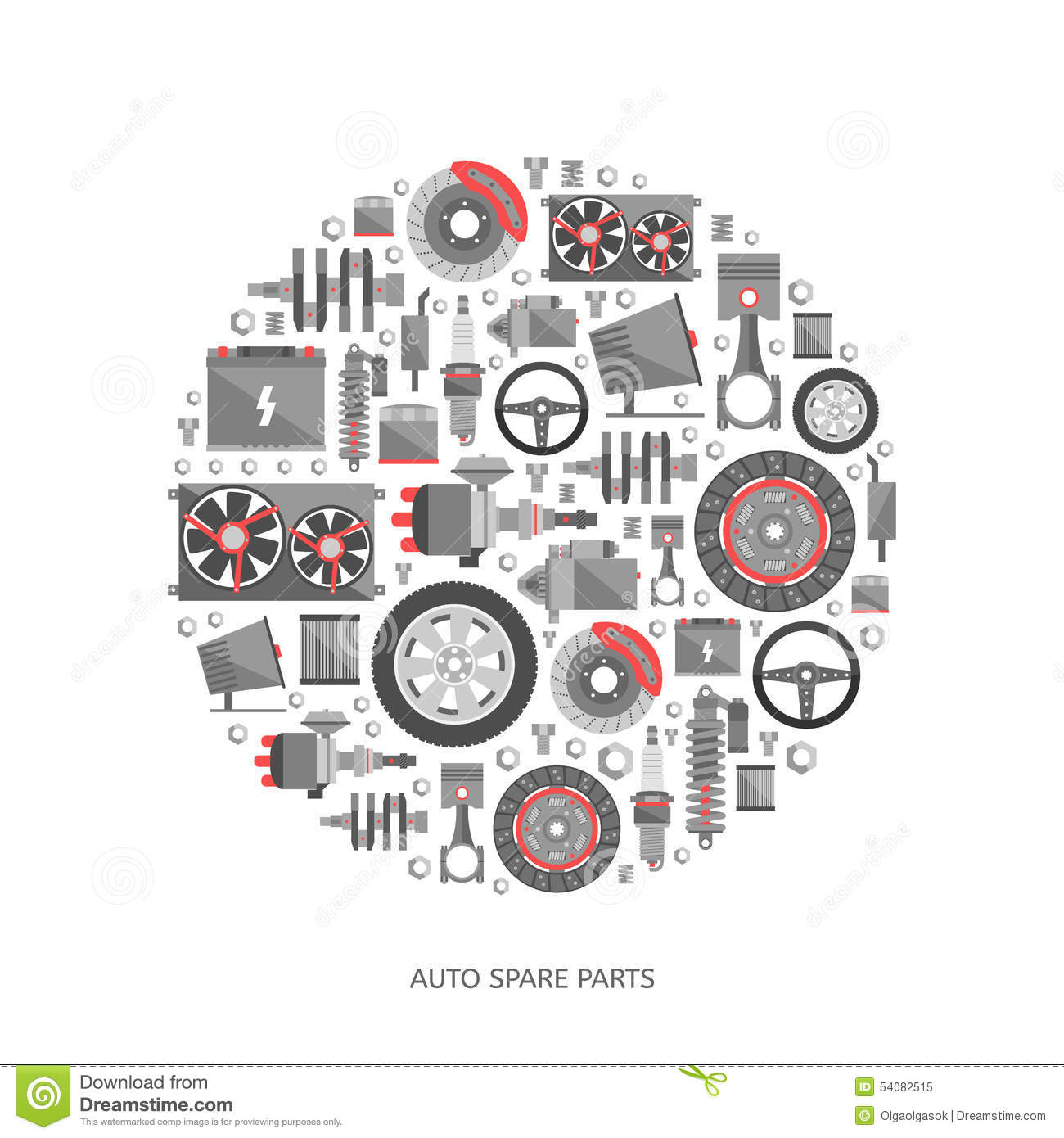 Set Of Auto Spare Parts Stock Vector Illustration Of