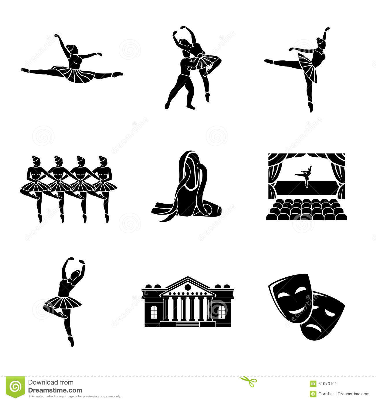 Set Of Ballet Monochrome Icons With