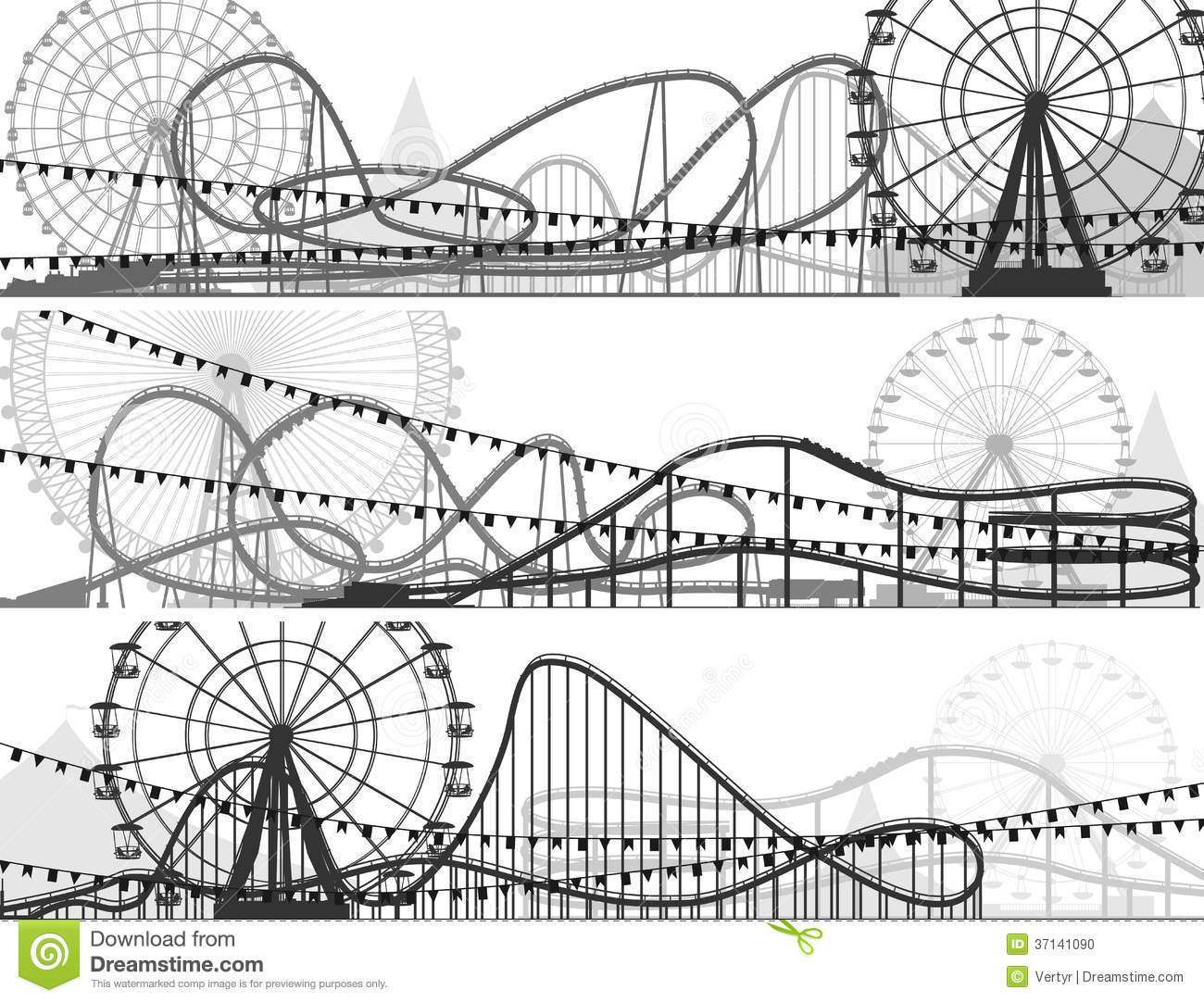 Set Of Banners Of Roller Coaster And Ferris Wheel Stock