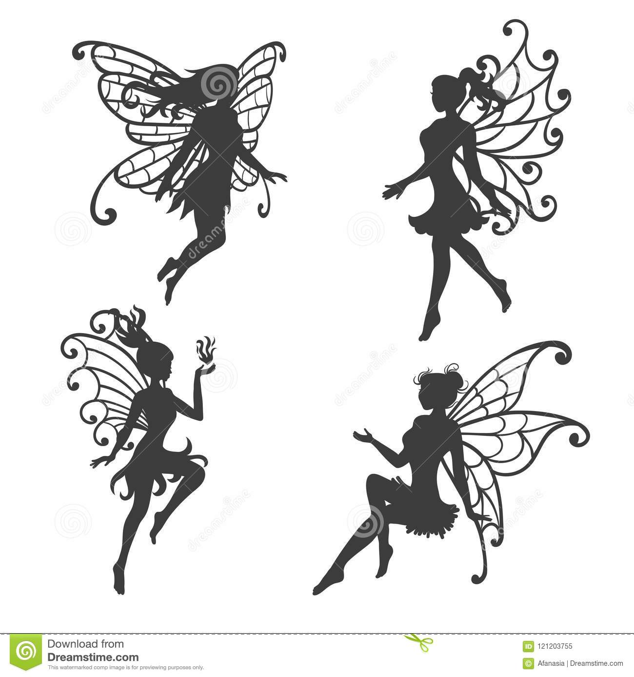 Set Of Beautiful Fairy Silhouettes Stock Vector