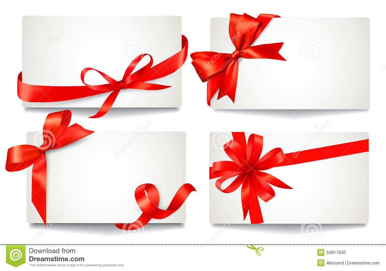 Set Of Beautiful Gift Cards With Red Gift Bows Wit Stock