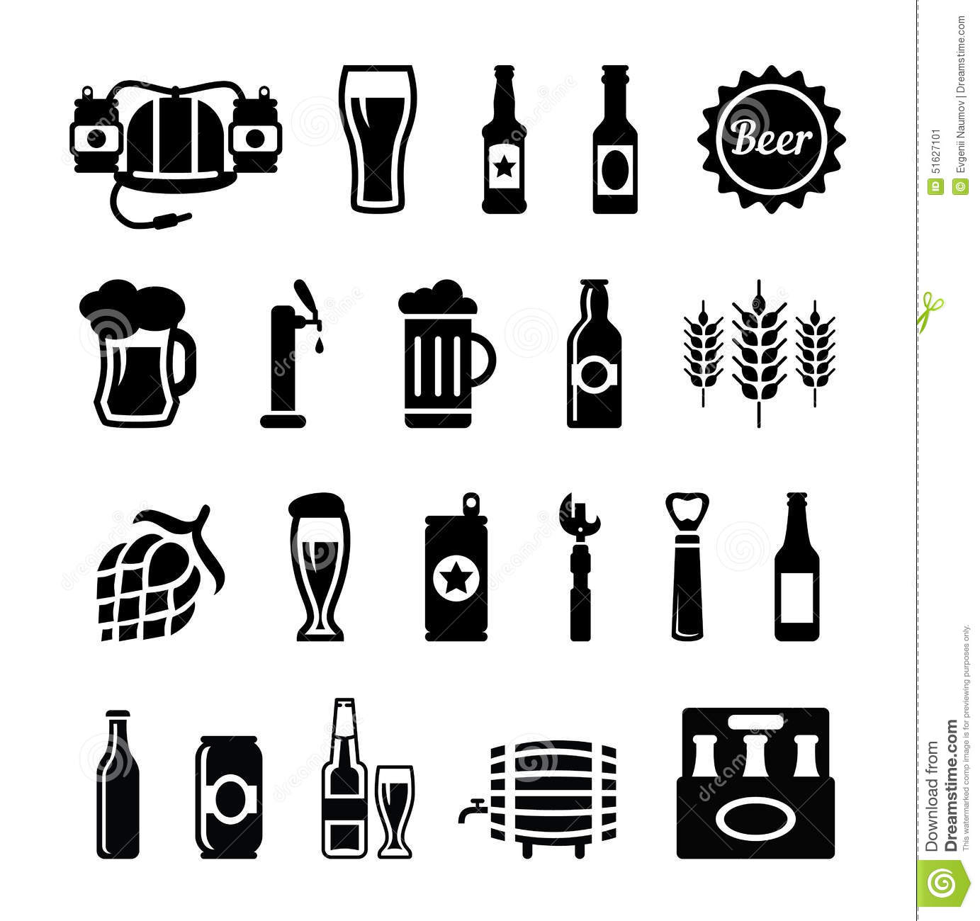 Set Of Beer Icons Stock Vector Illustration Of Equipment