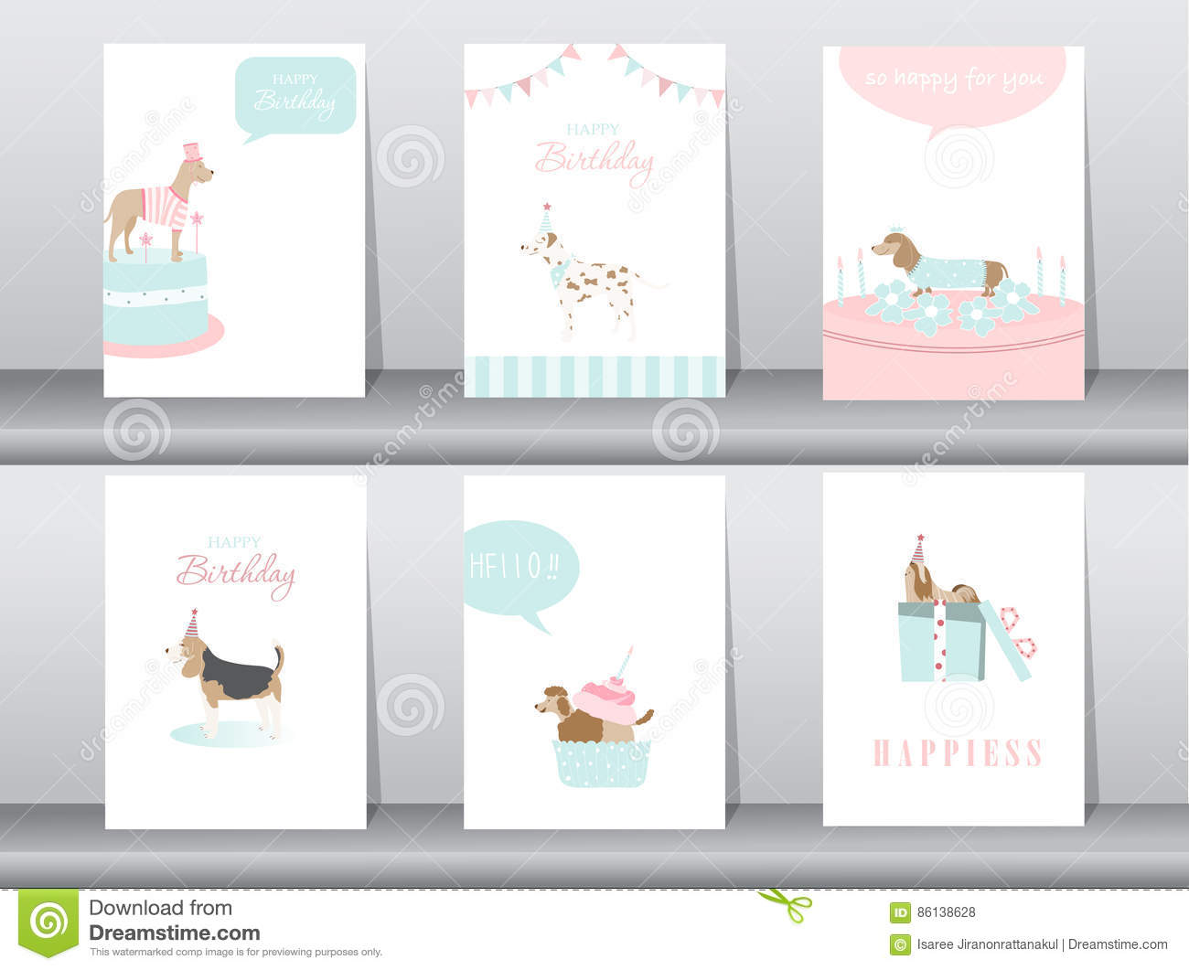 set of birthday invitations cards poster greeting template animals dogs vector illustrations stock vector illustration of dalmatians baby 86138628