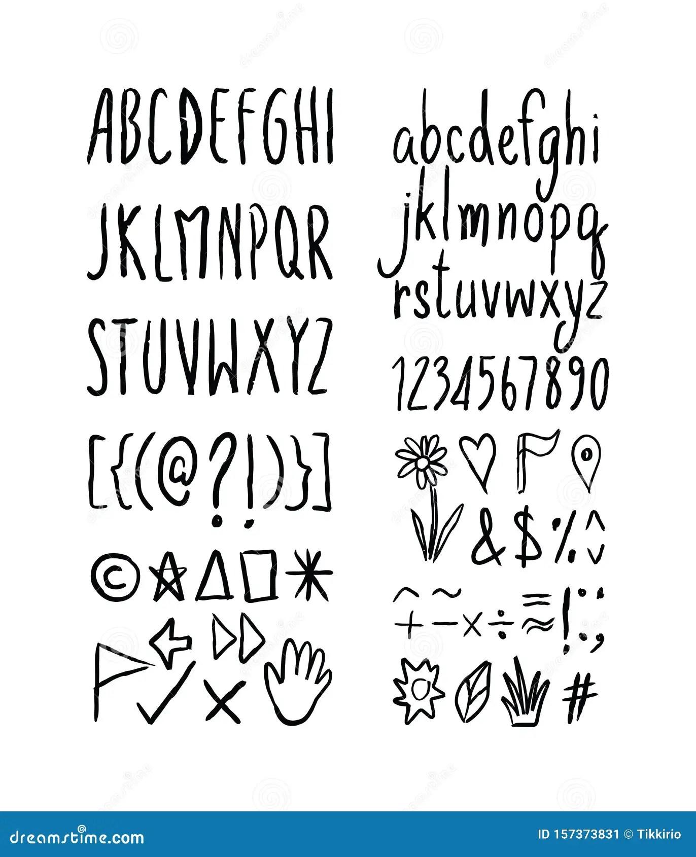 Set Of Black Brush Stroke Font Design Ink Handwriting