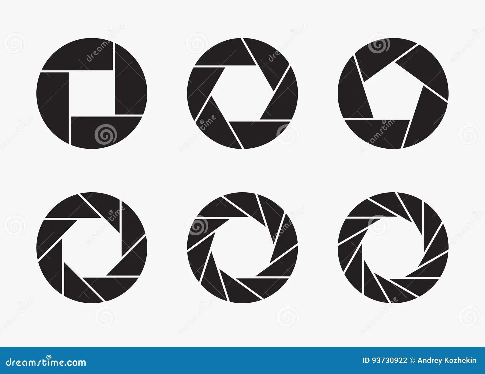 Set Of Black Camera Lens Aperture Icons Stock Vector