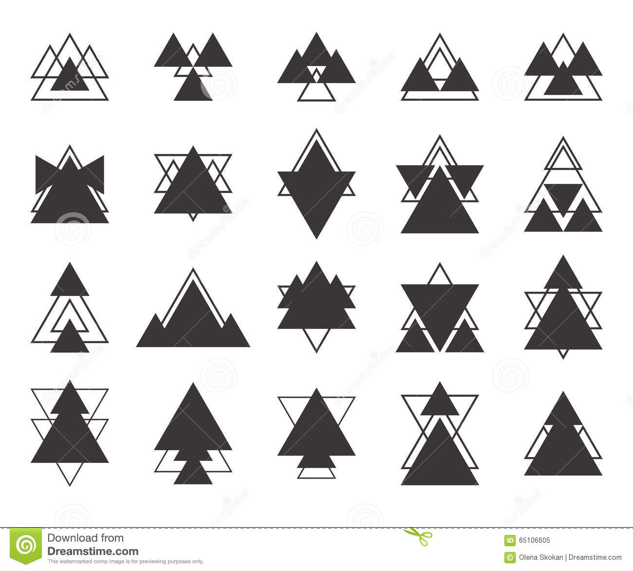 Set Of Black Geometric Shapes Triangles Lines For Your