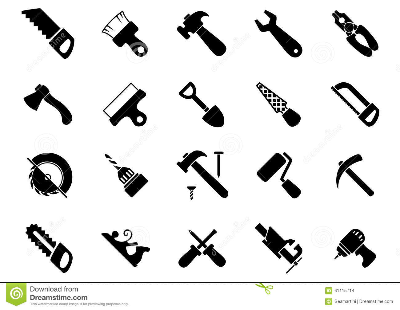 Set Of Black Hand And Power Tools Icons Stock Vector