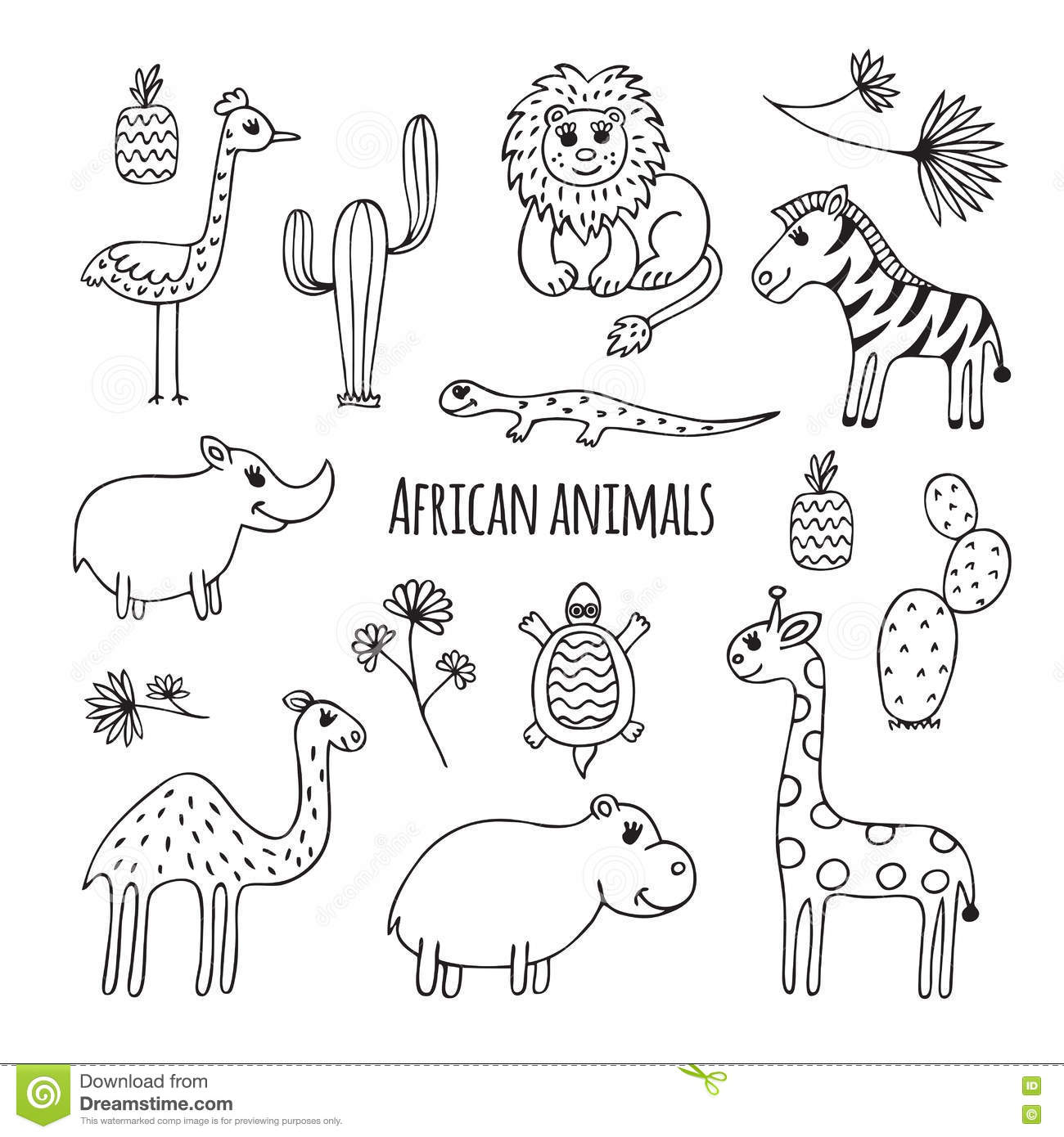 Set Of Black And White African Animals Stock Vector