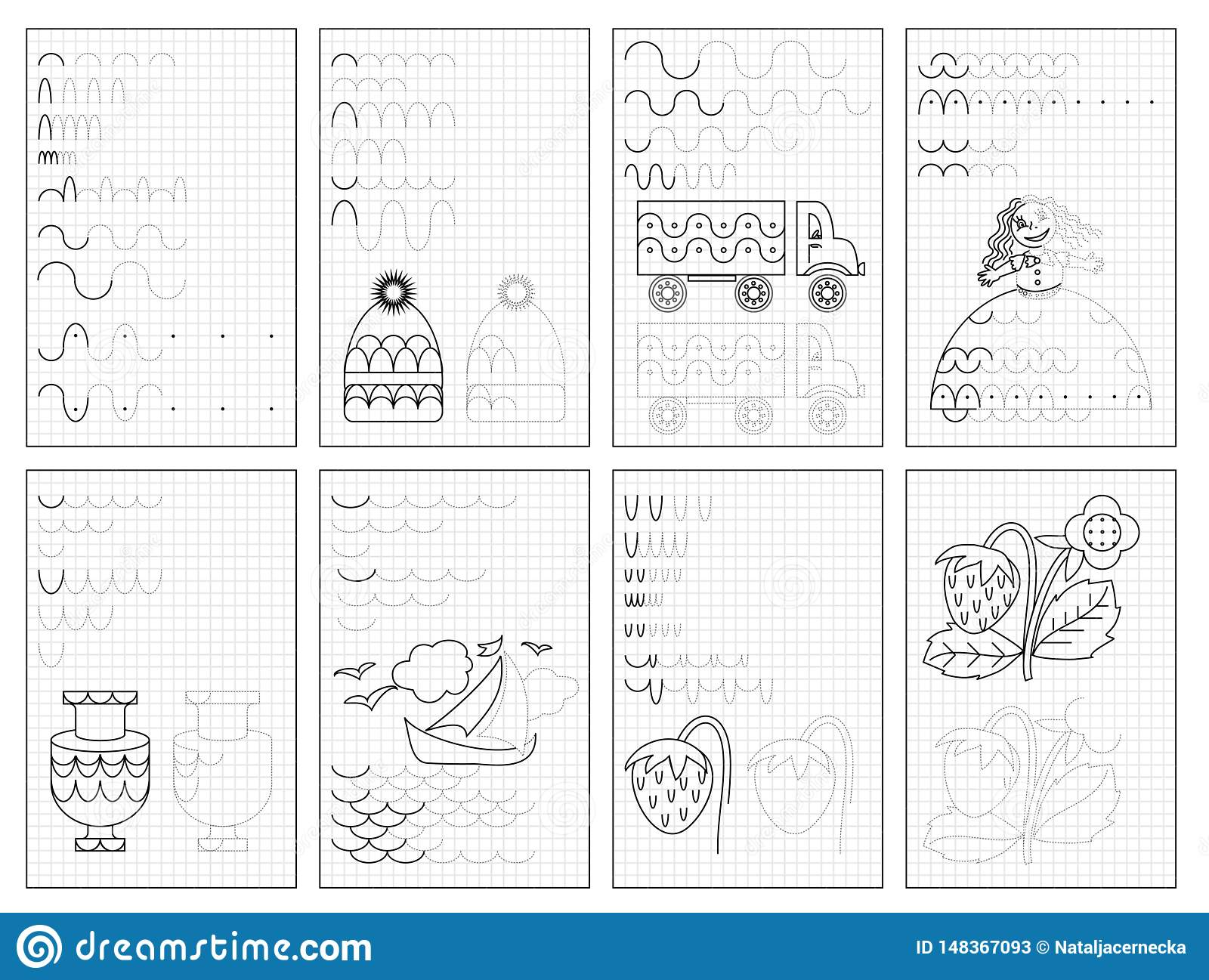 Set Of Black And White Educational Pages On Square Paper