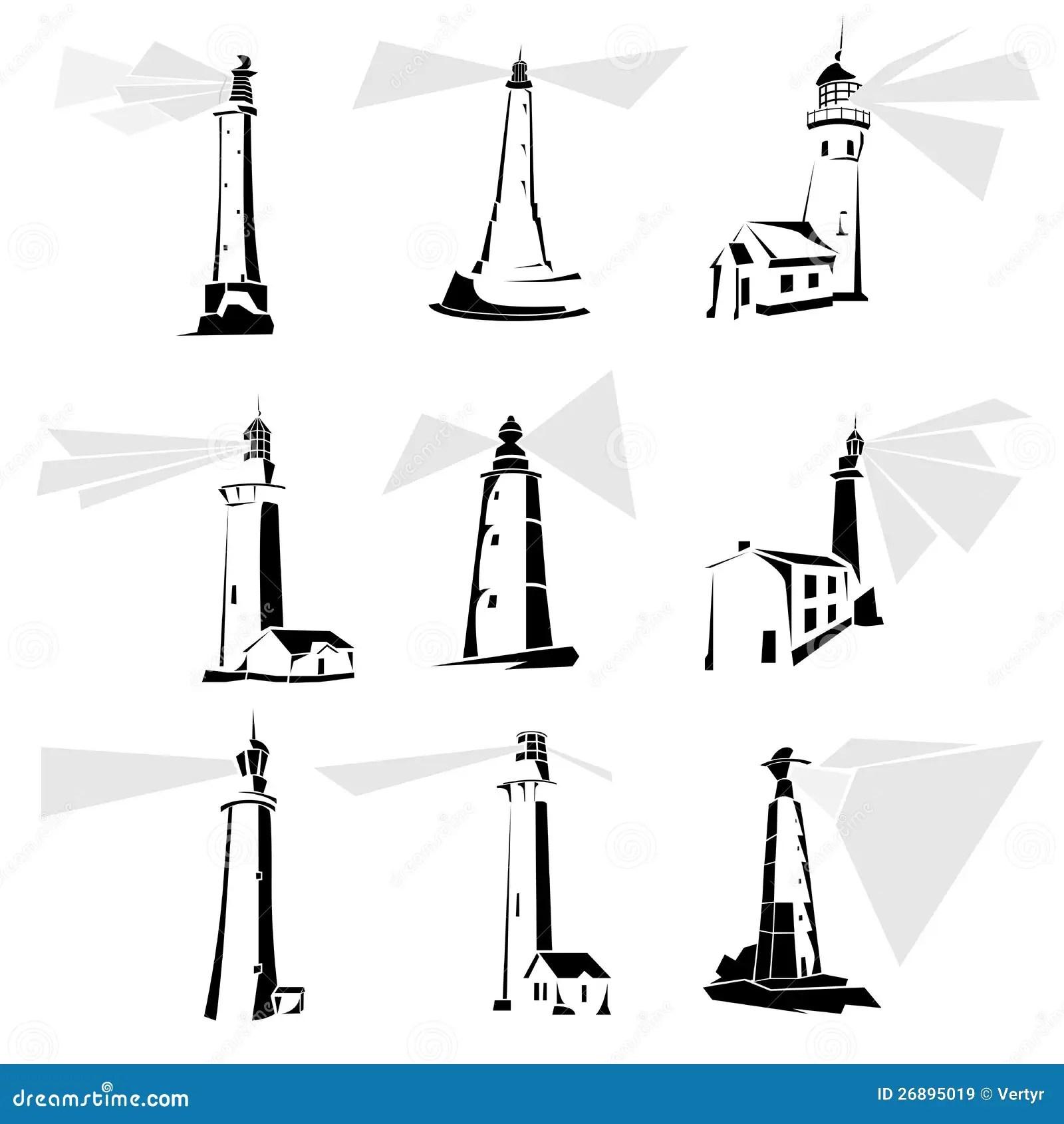 Black White Lighthouse Stock Illustrations 1 007 Black
