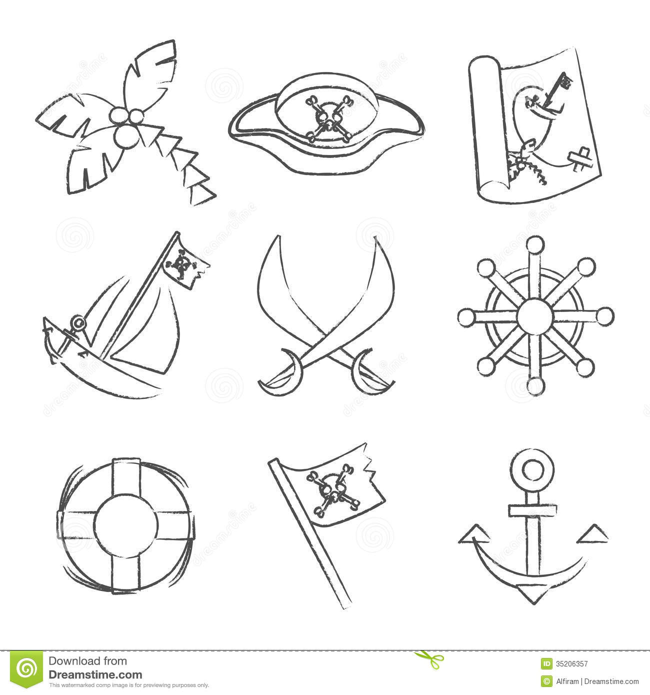Set Of Black And White Pirate Symbols Stock Vector