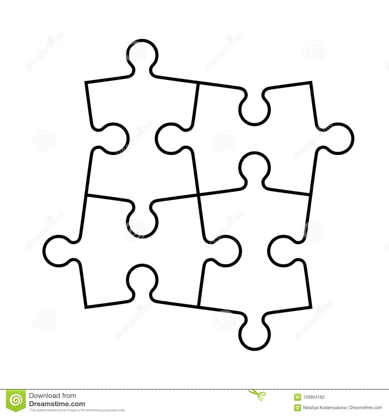 Set Of Puzzle Pieces Stock Vector Illustration Of Section