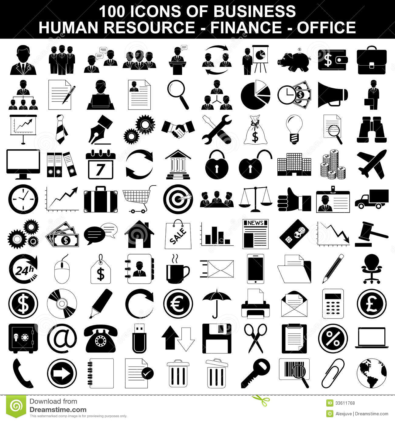 Set Of Business Icons Human Resource Finance Royalty Free Stock Photos