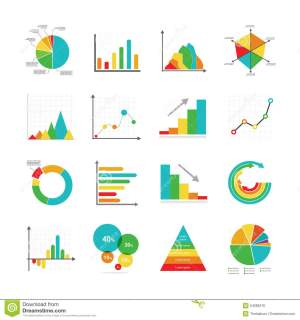 Set Of Business Marketing Dot Bar Pie Charts Diagrams And