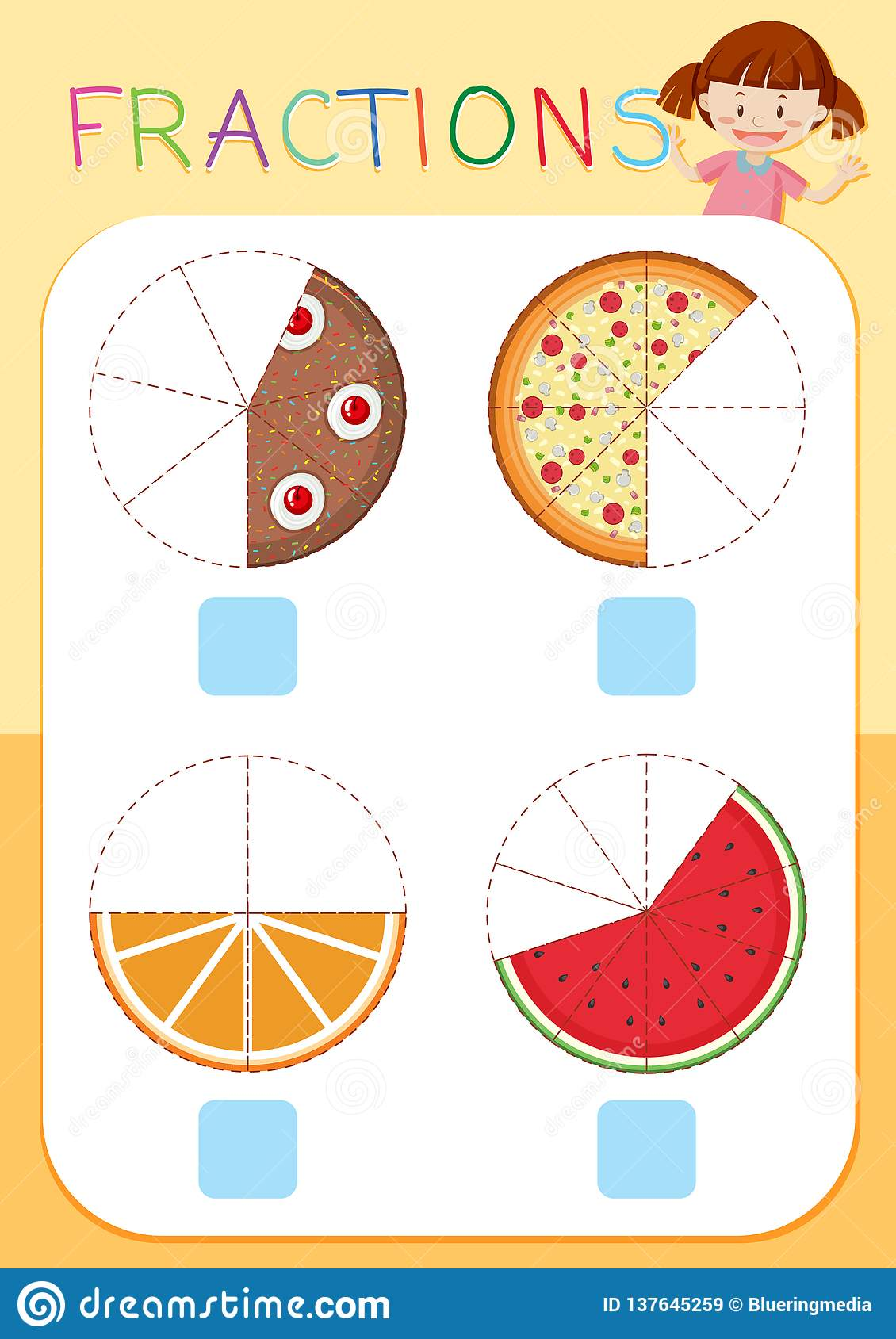Set Of Cake Fractions Stock Vector Illustration Of Clip