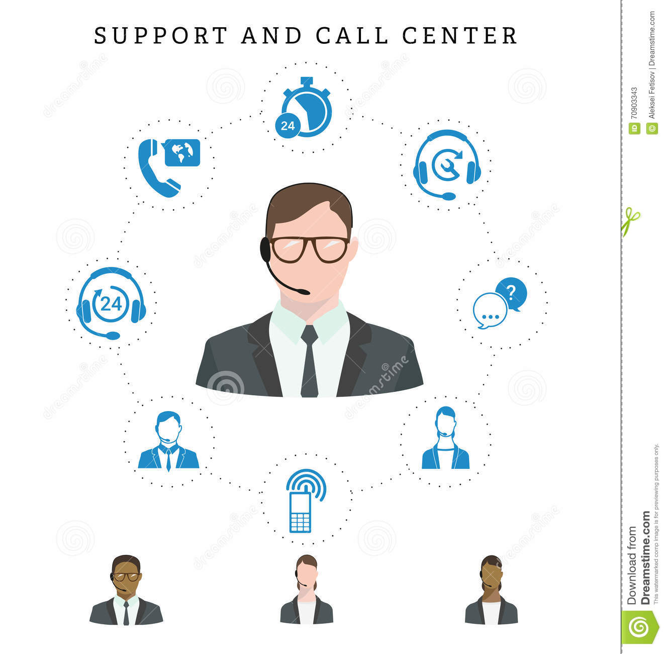 Set Of Call Center Service And Support Icons Hotline