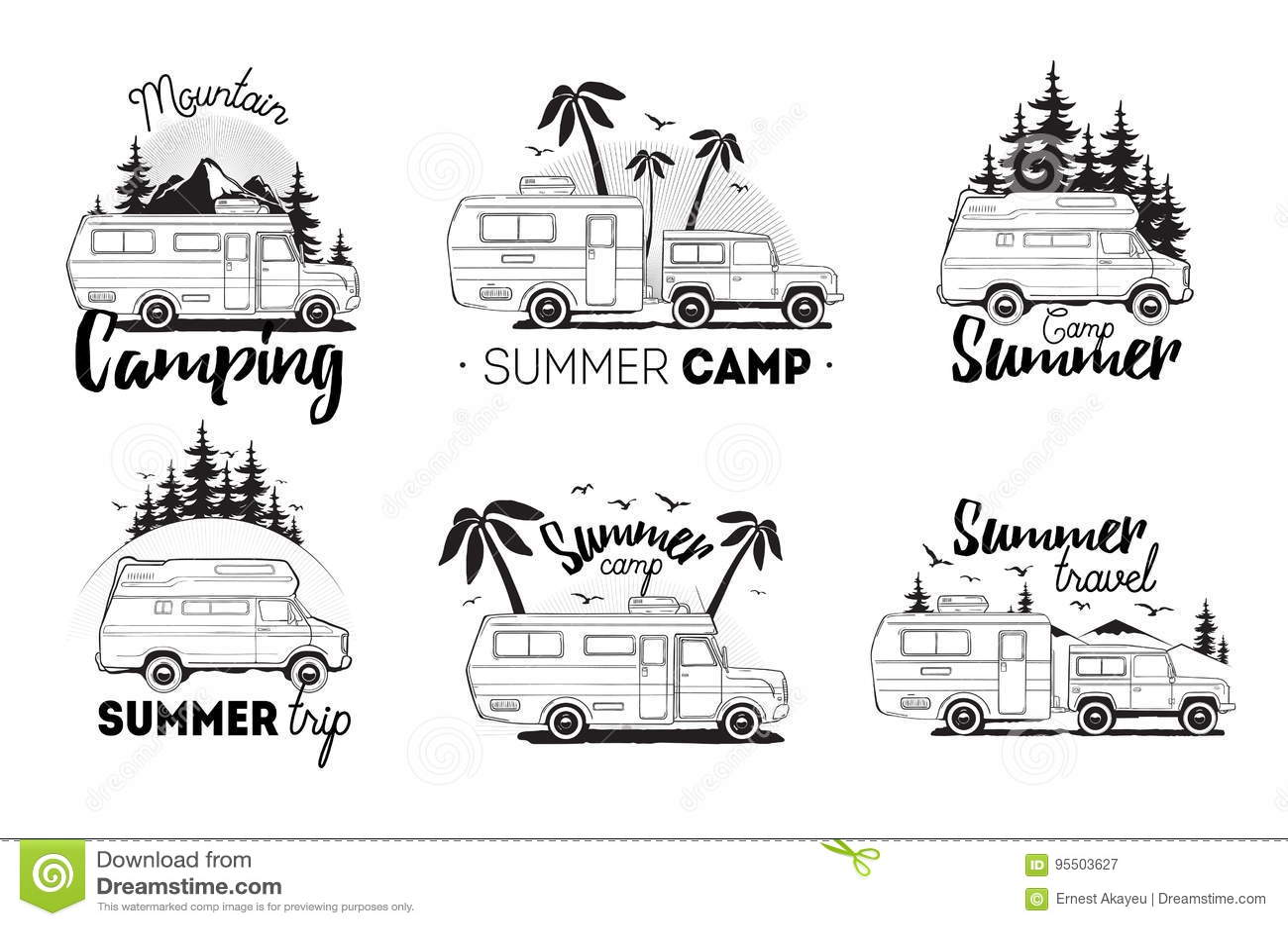 Set Of Camping Trailer Logo Camper Vans Against Landscape