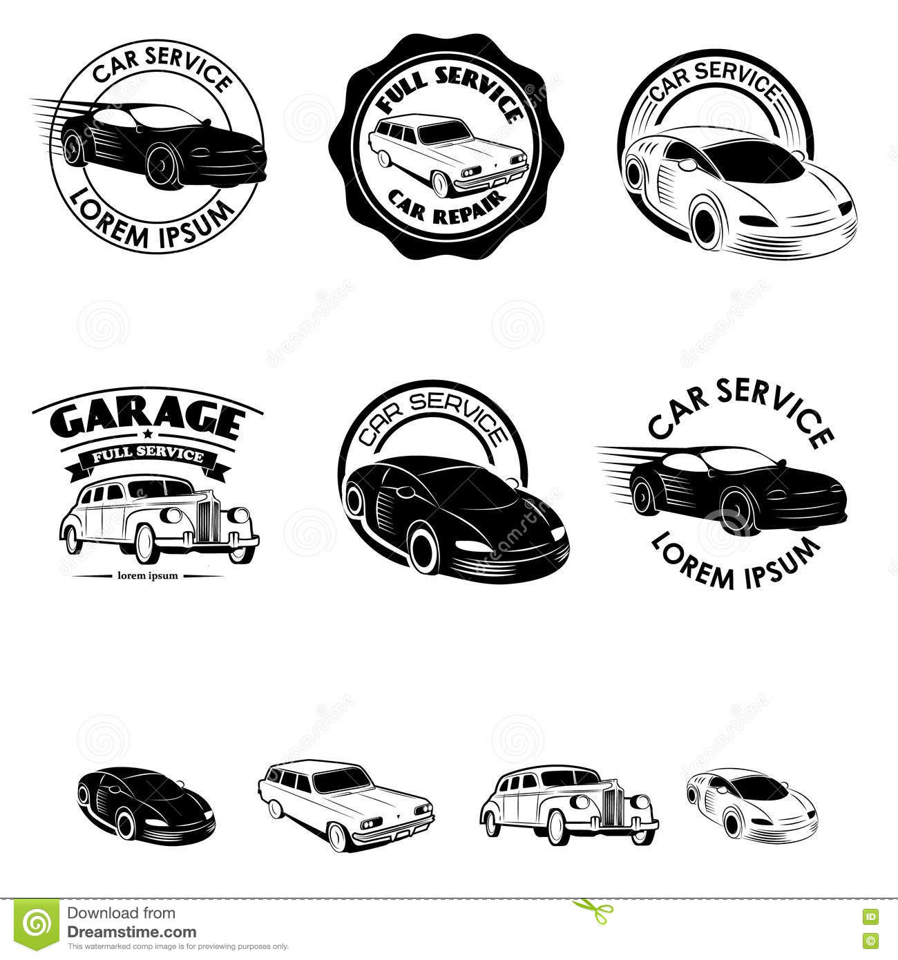 Collection Of Vintage Retro Grunge Car Labels Cartoon