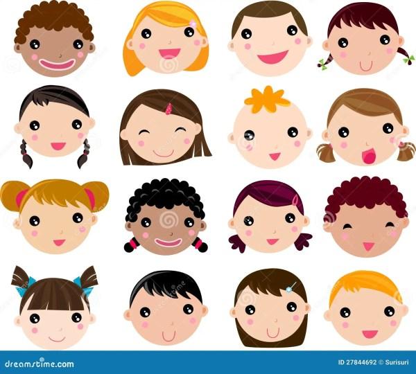 Set Of Cartoon Children Face Stock Vector - Illustration ...