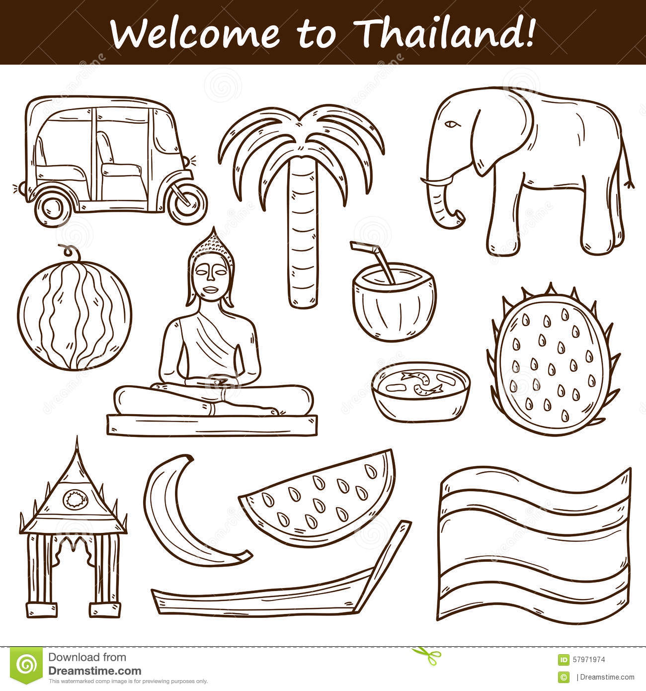 Set Of Cartoon Outline Objects In Hand Drawn Style Stock