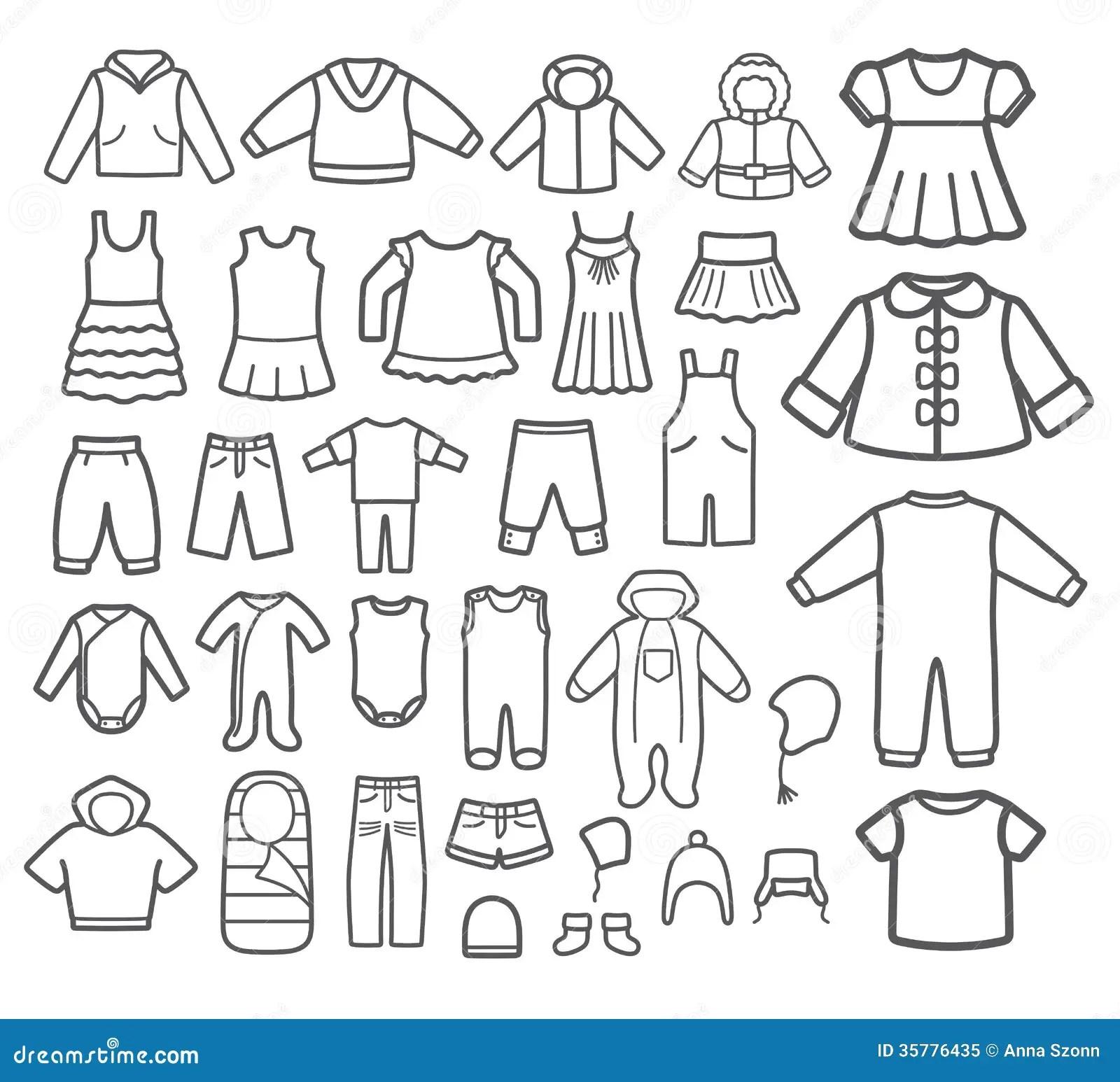 Set Of Children Clothing Stock Vector Illustration Of