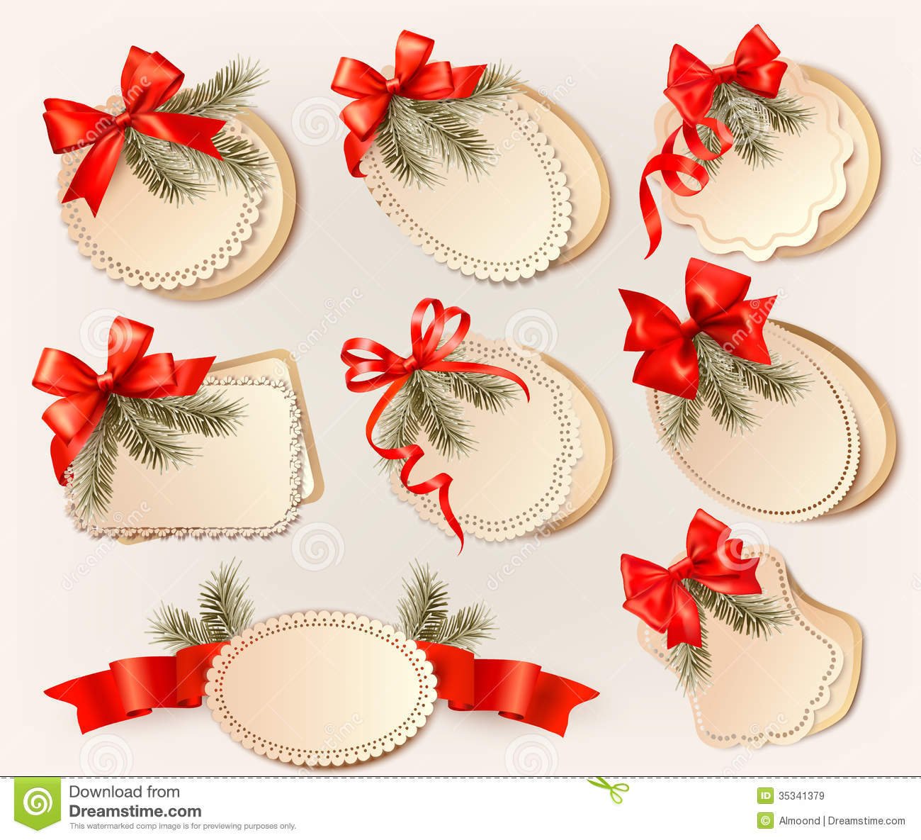 Set Of Christmas Gift Cards With Red Gift Bows Wit Stock