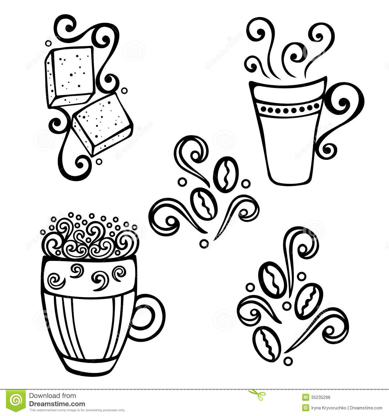 Set Of Coffee With Steam Royalty Free Stock Photos
