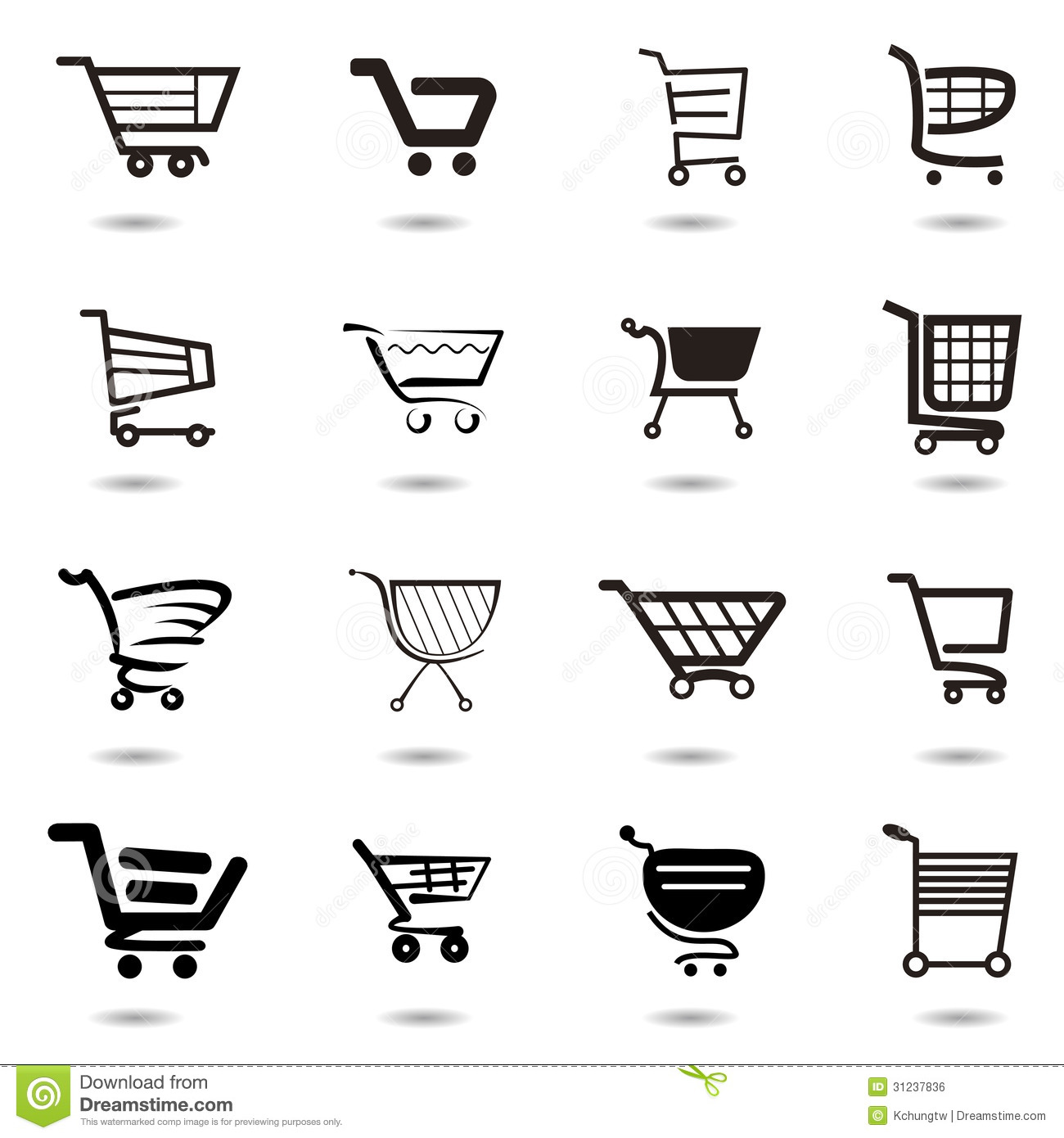 Set Collection Of Vector Shopping Cart Icons Royalty Free
