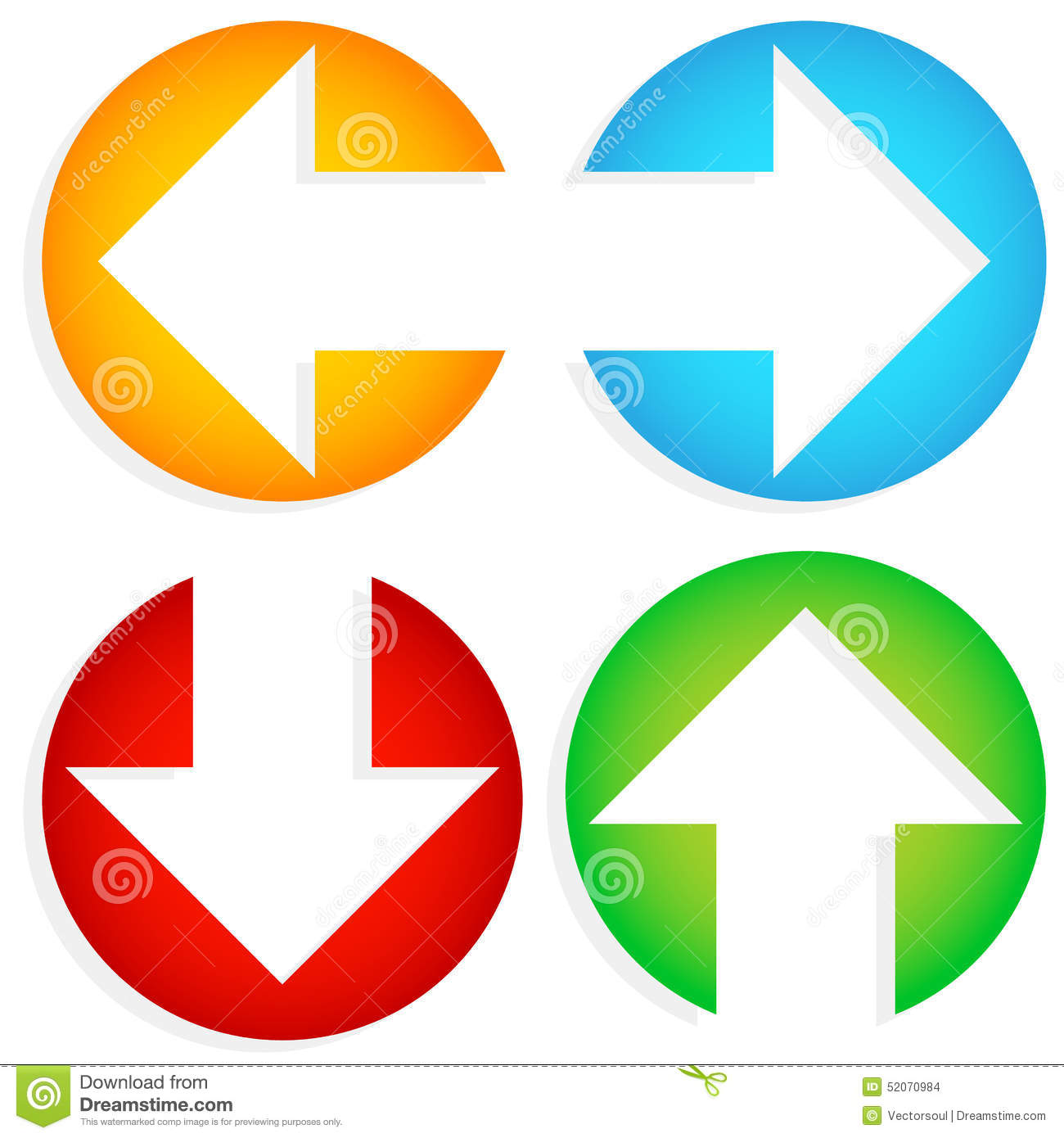 Set Of Colorful Left Right Up Down Arrows Cut In Circles