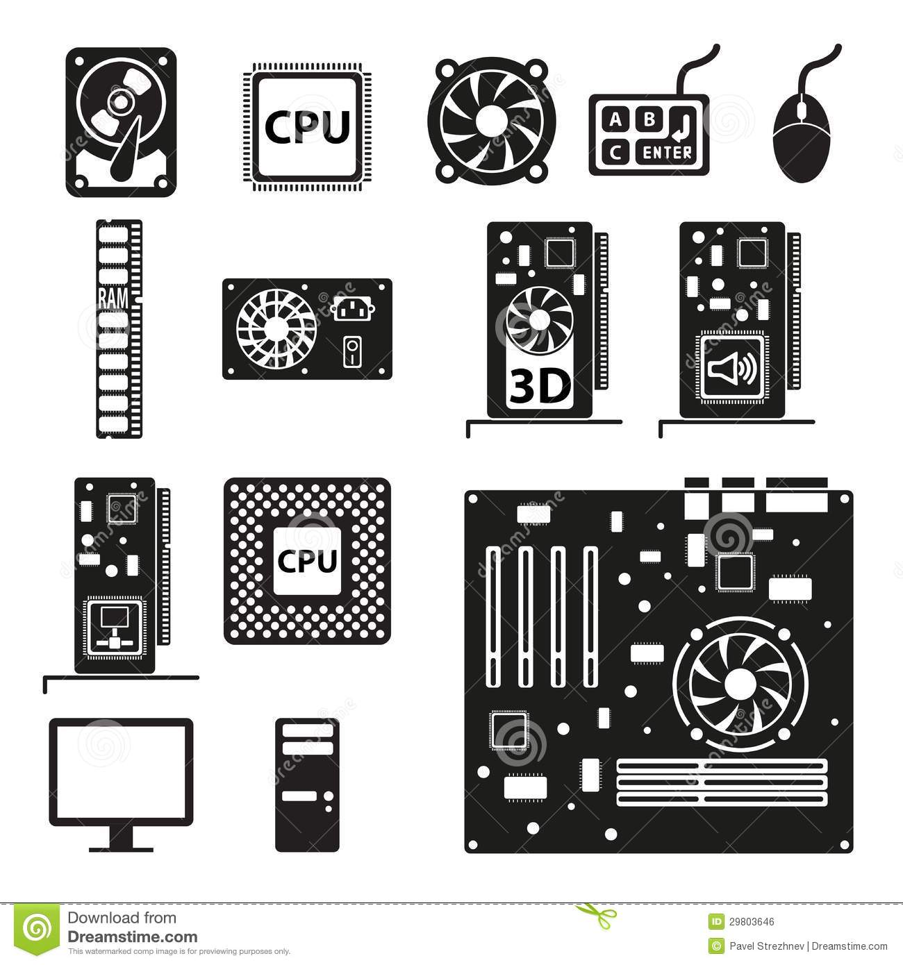 Set Of Computer Hardware Icons Royalty Free Stock Image