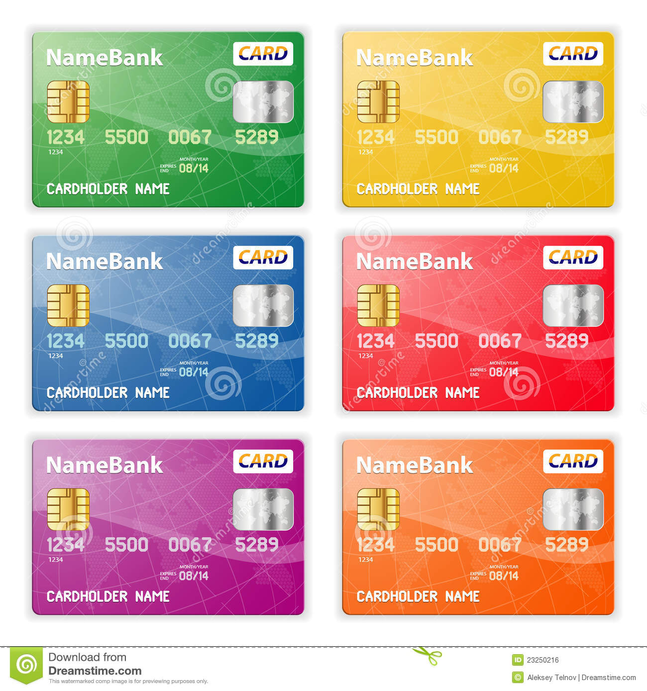 Set Of Credit Cards Stock Vector Illustration Of Card