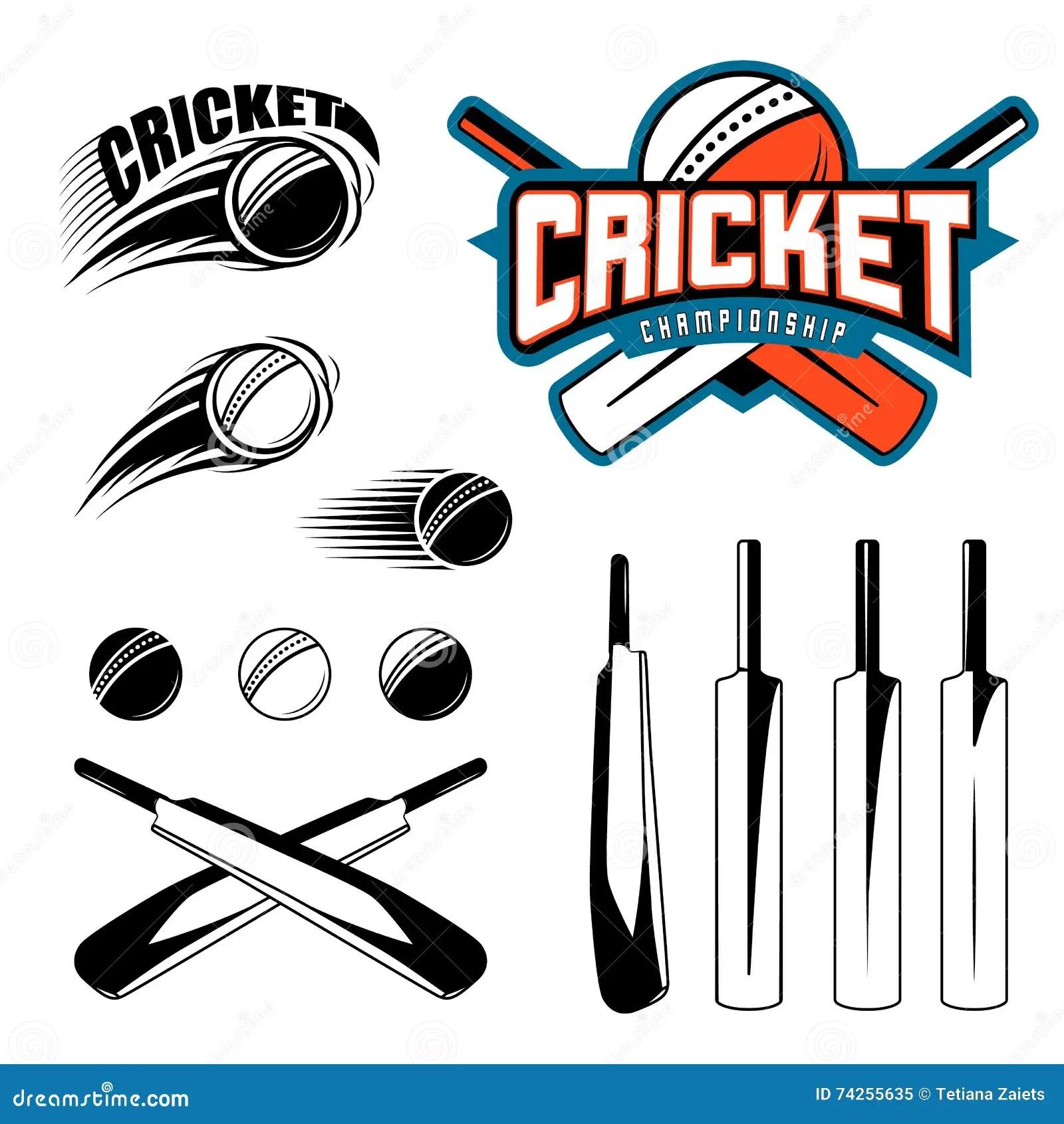 Cricket Equipment Bat Ball And Wicket Vector Illustration Vector Illustration