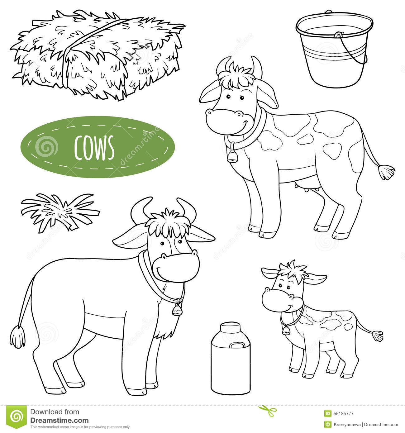 Set Of Cute Farm Animals And Objects Vector Family Cows