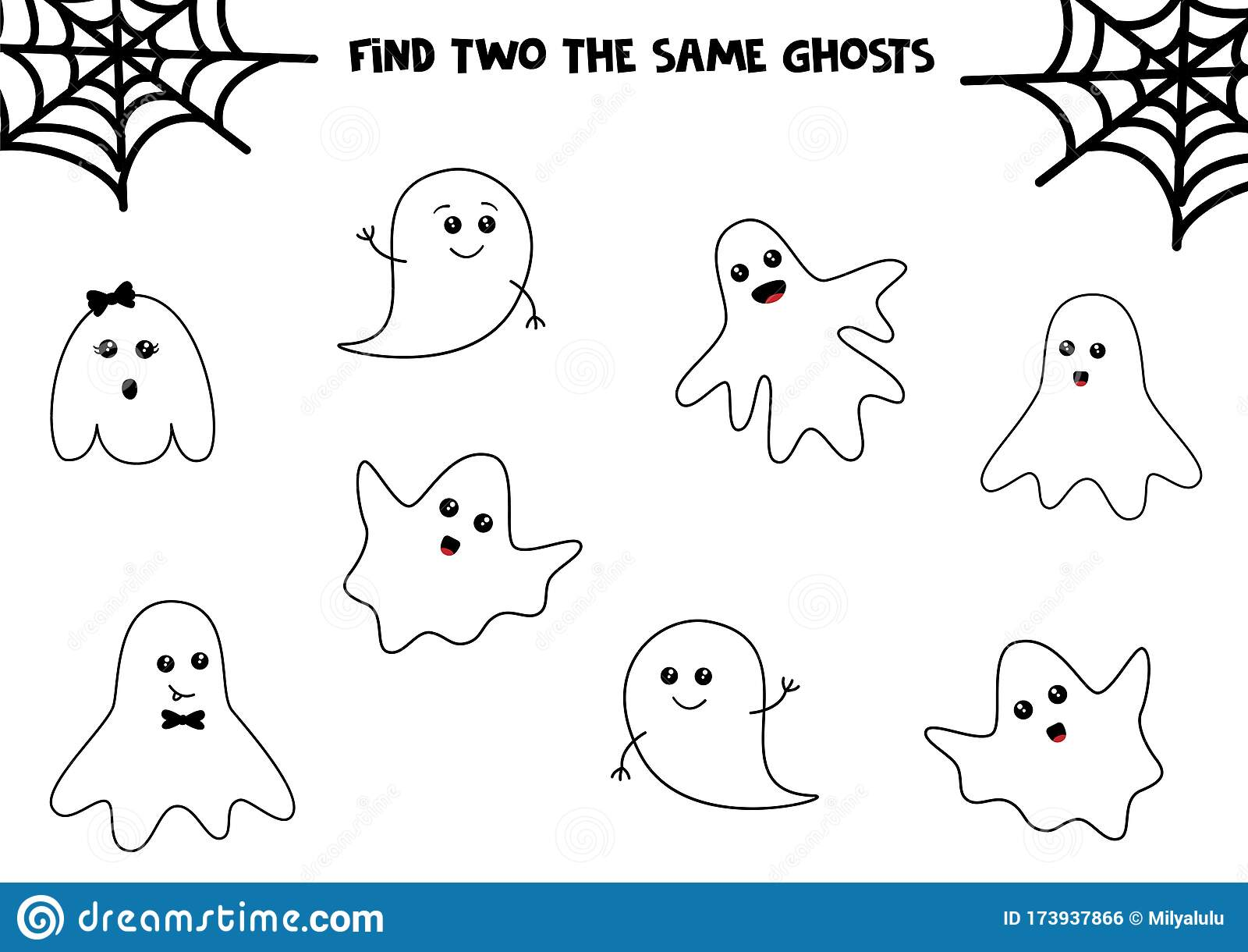 Set Of Cute Halloween Ghosts Find Two Same Ghosts