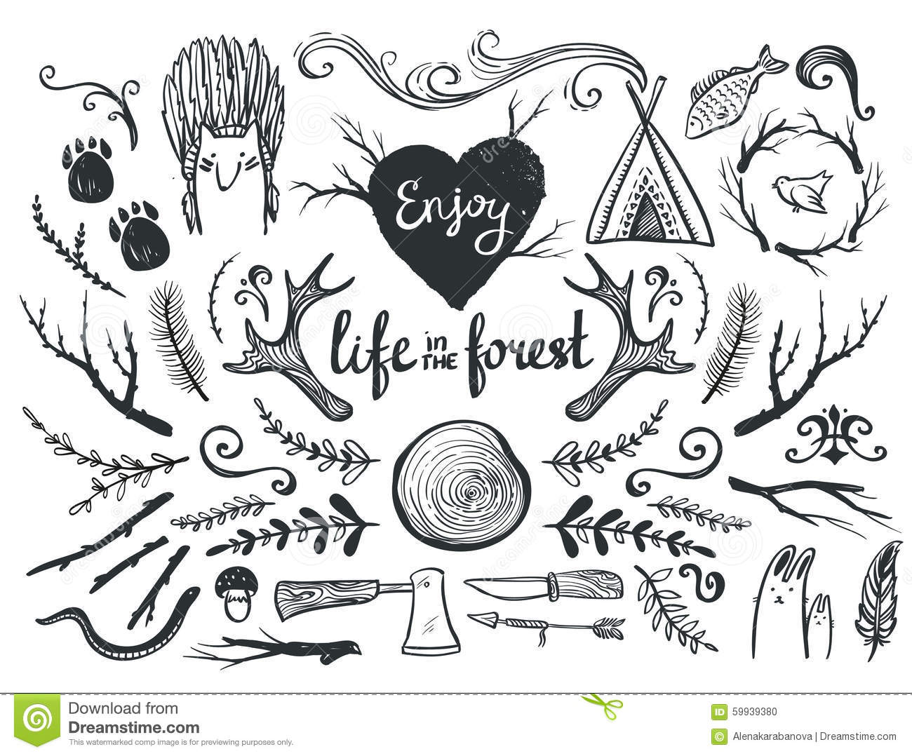 Set Of Design Elements And Clip Art Themed Around Animals