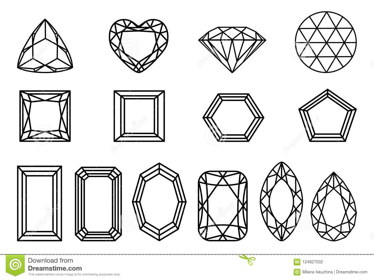 Set Of Diamonds Precious Stones Of Different Forms Of Cut