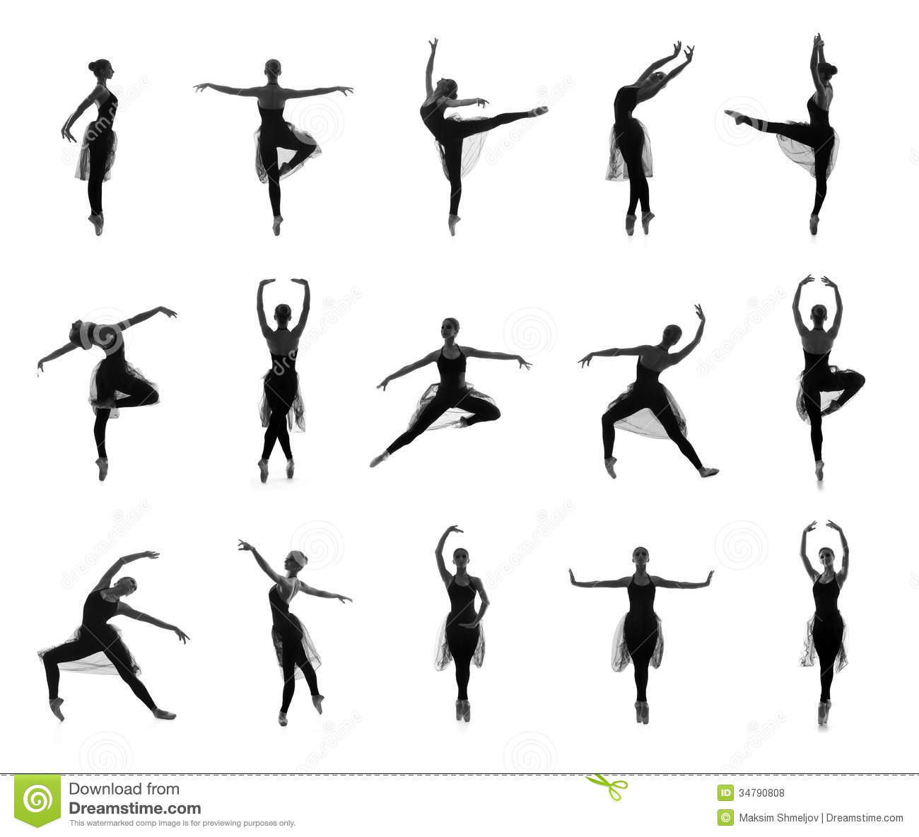 Set Of Different Ballet Poses Black And White Traces