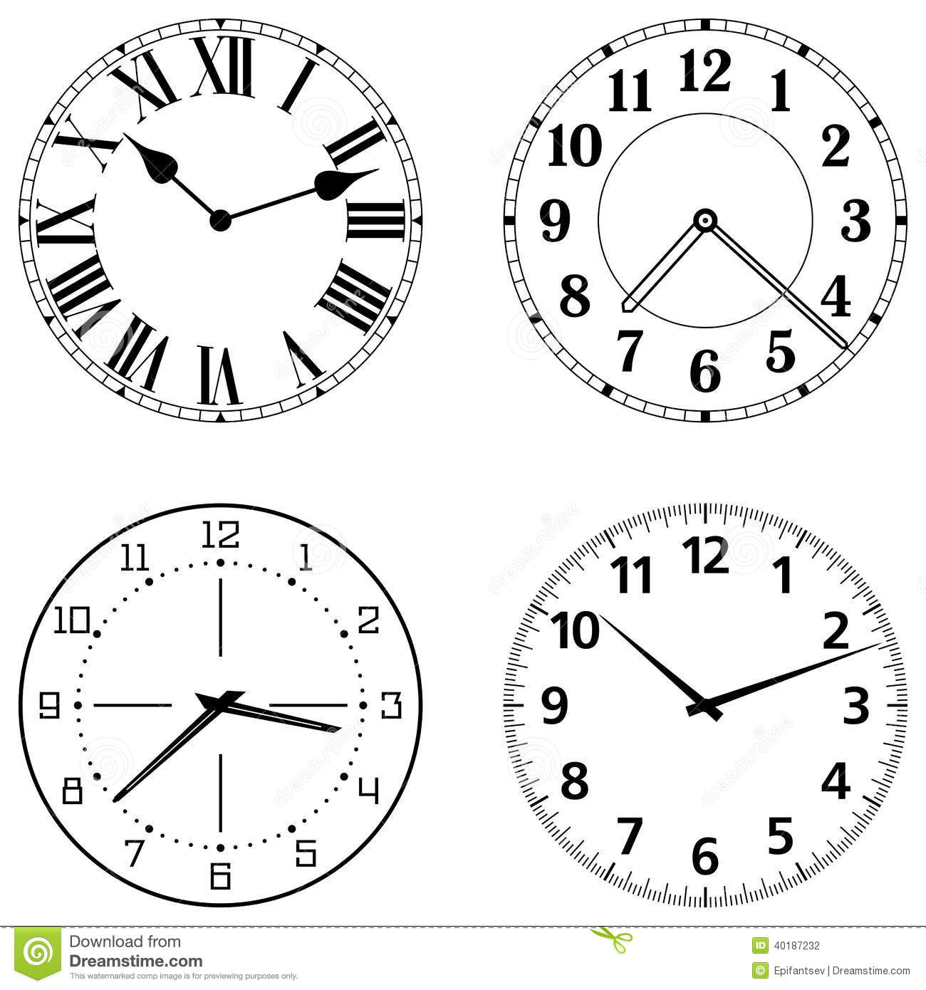 Set Of Different Clock Faces Stock Vector