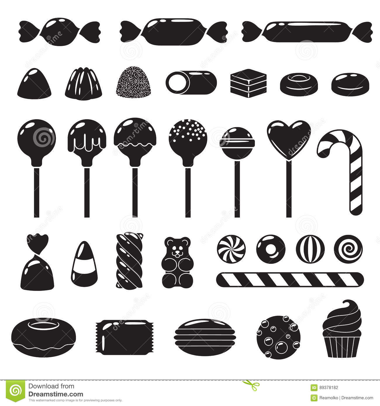 Set Of Different Sweets Assorted Can S Stock Vector