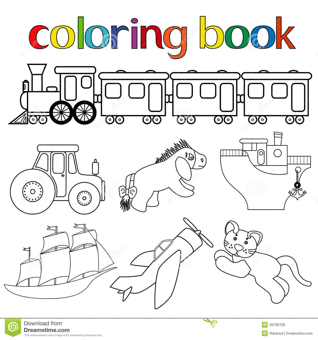 Set Of Different Toys For Coloring Book Stock Vector
