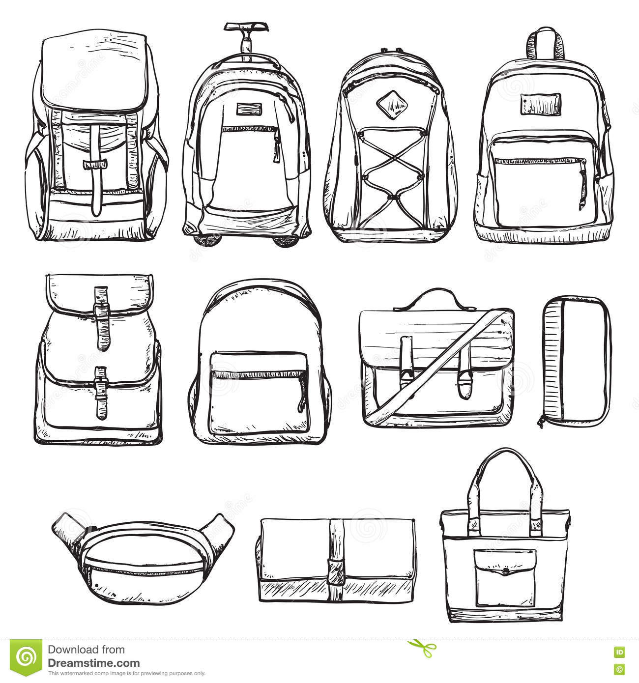 Set Of Different Types Bag For Travel Stock Vector