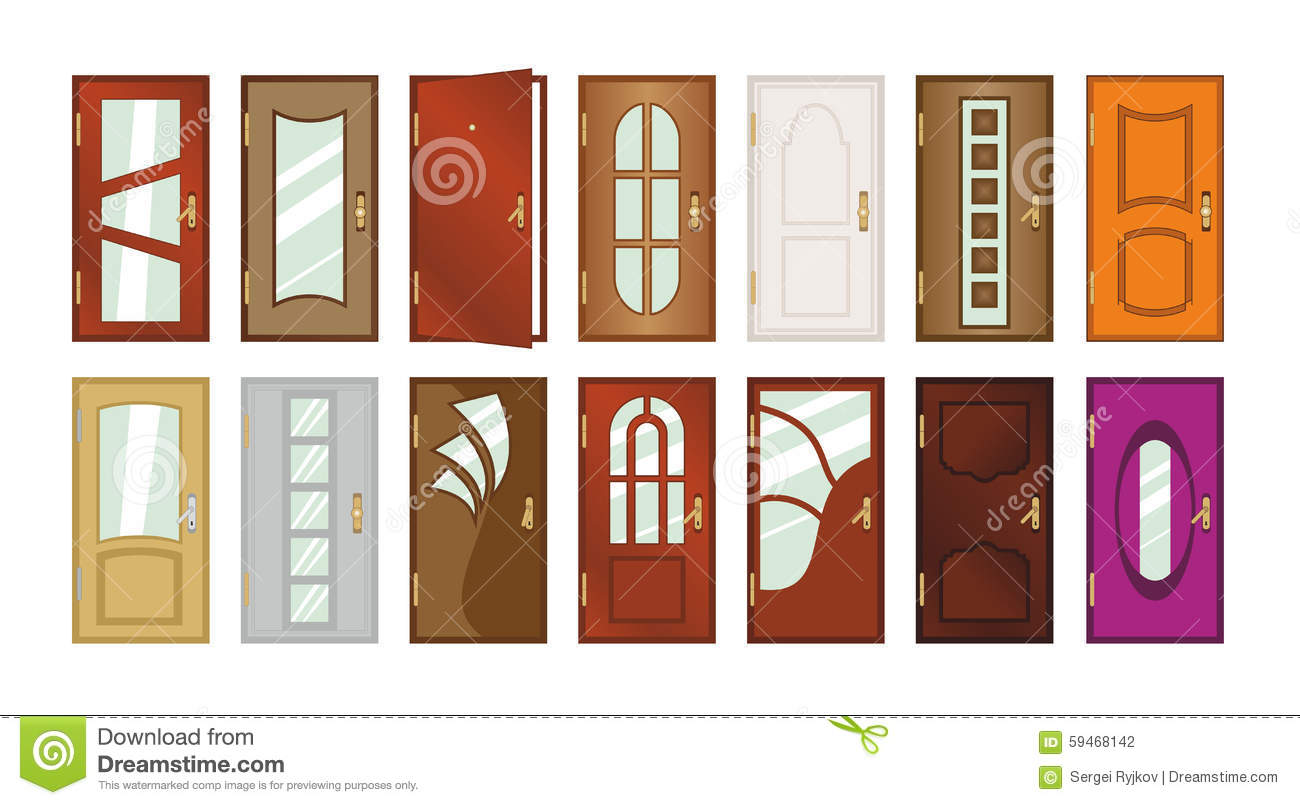 Set Of Different Types Of Doors Stock Illustration Illustration Of Design Isolated 59468142