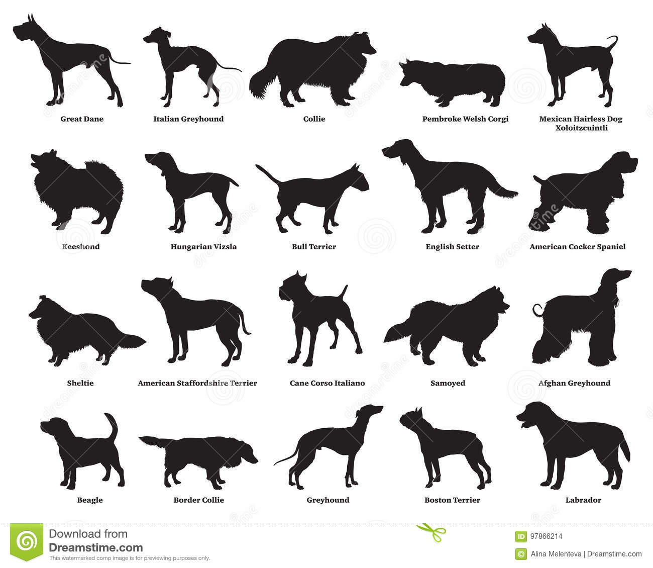 Set Of Dogs Silhouettes 2 Stock Vector Illustration Of